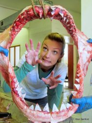 Michelle Jewell with white shark jaws